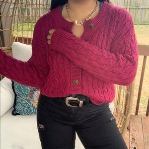 Vintage Boho Cable Knit Sweater Cardigan SZ L